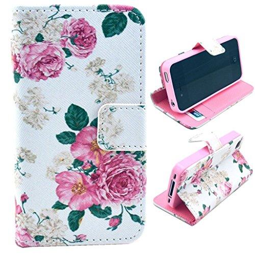 HUANGTAOLI Custodia in Pelle Flip Case Cover per Apple iPhone 4/4S Pellicola Protettiva Schermo & Stylus (LOVE) Code 11