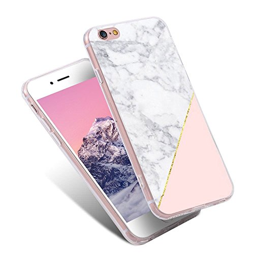 For iPhone 5S Case,iPhone SE Case,LLZ.COQUE Bling Shiny Rose Gold Stone Marble Print Case,Glitter Ultra Thin 2in1 Protective Soft TPU Bumper Shockproof Cover Hard PC Case for iPhone 5 Pink