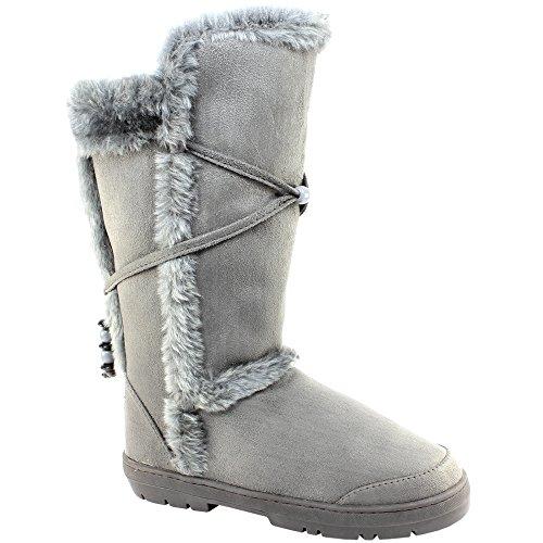 Femmes en fausse fourrure doublure semelle épaisse bottes de neige d'hiver Gris