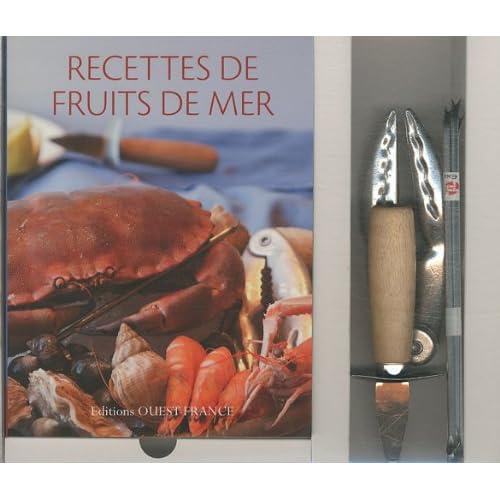 Recettes de fruits de mer : Coffret avec un livre, un couteau à huîtres, une pince à crustacés et 4 curettes à crabes
