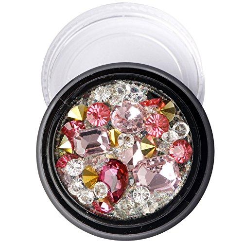 1 Box 3D Nail Sticker, Elf Beads Glasperlen Mix Flash, 3D Nail Art Nagel Kunst Dekorationen, Nagel Kristalle Glitzer Strass Bunte Edelsteine   mit Strass Picker Bleistift