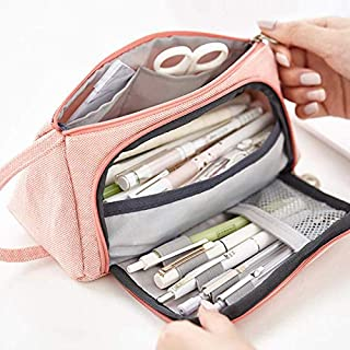 VIKEA Trousse à crayons Rose Grand format/Plumier pour fille - 3 compartiments - Grande capacité - Sac à crayons - Pochette de rangement en toile - 20 x 11 cm 20 * 11cm rose bonbon