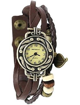 Damen Retro Baum Blatt Leder Armkette Armband Armbanduhr Uhren Uhr Watches Bunt