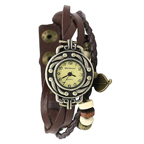 Damen Retro Baum Blatt Leder Armkette Armband Armbanduhr Uhren Uhr Watches Bunt - Echte Druckkopf
