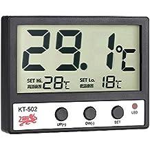 Anself - Termométro De Acuario Con Alarma De Temperatura Alta / Baja, Adhesivo, Lcd Pantalla