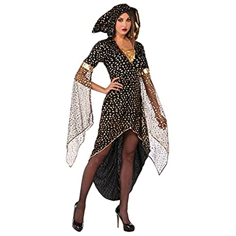 Ladies Moon Star Sorceress Dress Witch Wiccan Pointy Hood Black Gold Golden Planets Sexy Christmas Fancy Dress Costume Hogwarts Professor