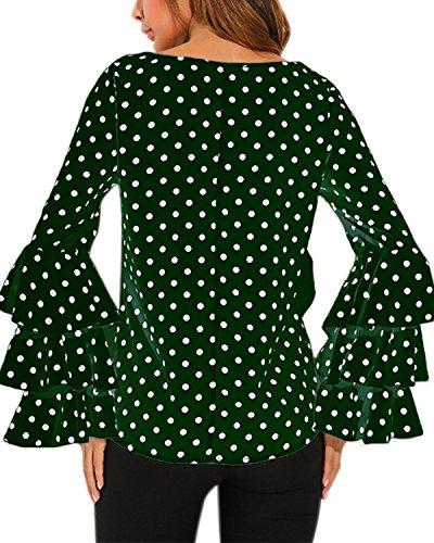 StyleDome Damen Polka Dot Lotus Hülse Langarm Chic Shirts Krawatte Crew Neck Bluse Shirts Casual Tee Tops Grün569857