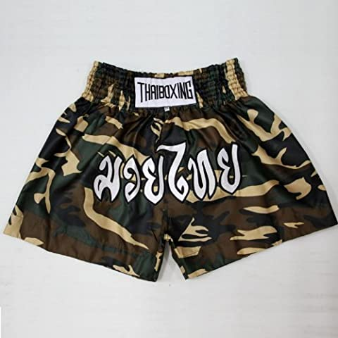 Muay Thai Boxing Shorts Trunks Army Soldier Satin Green Camouflage/size Xl by N/A