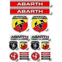 ADHESIVOS stickers SET ABARTH FIAT CARRERAS logo 20pz DE LA MÁXIMA CALIDAD VINILO PULIDO
