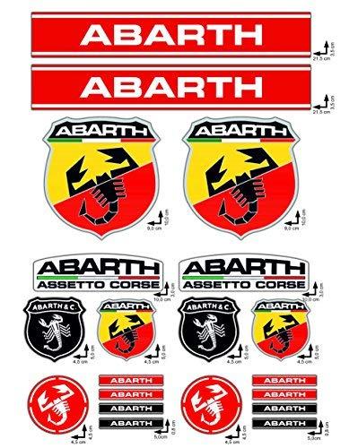 Aufkleber Set ABARTH FIAT CORSE logo 20pz höhe Qualität Vinyl poliert