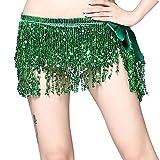 Guiran Donna Costume di Danza del Ventre Latino Hip Sciarpa Triangolo Nappa Boemia Scialle Verde Taglia Unica