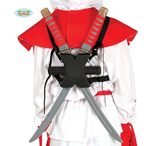 Amakando Ninjaschwert Shinken 2 Samurai Schwerter asiatisches Langschwert Japanischer Krieger Klingen Ninja Kostüm Zubehör 2 Samurai Schwerter (Japanischen Ninja Krieger Kostüm)