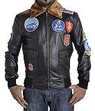 BSKULL Mens Top Gun veste en faux cuir avec des taches de broderie (3XL) BLACK