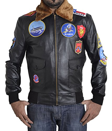BSKULL Top Gun Kunstlederjacke mit Stickerei-Patches (XL) SCHWARZ (Cockpit-leder-jacken)