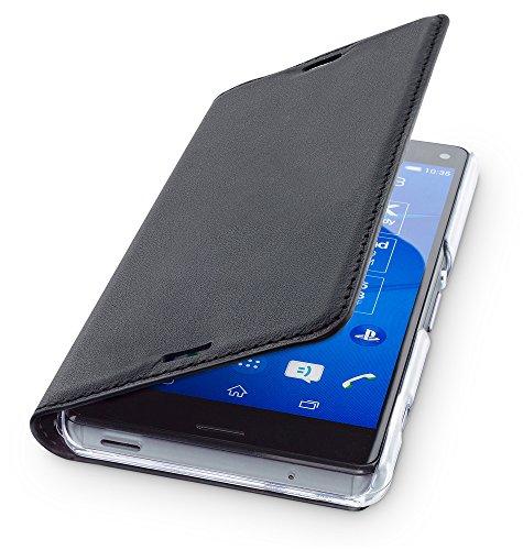 WIIUKA Echt Ledertasche - TRAVEL - für Sony Xperia Z3 COMPACT, Hülle mit Kartenfach, Schwarz, extra Dünn Premium Design Leder Tasche Case