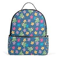 Bennigiry Lightweight Cute Frog School Backpack for Boys Girls Teens Kids