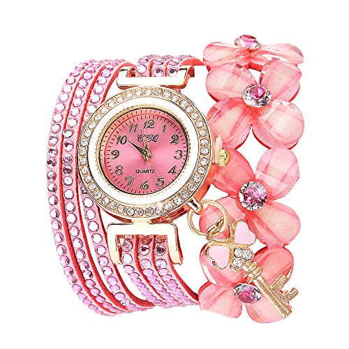Lazzgirl Flowers Geneva Watches Modische Stilvolle Quarz-Armband-Damen-Diamantuhr(Rose,One Size)
