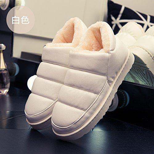 DogHaccd pantofole,Autunno e Inverno paio di pantofole di cotone confezione a rimanere a casa anti-slittamento di spessore caldi pavimenti in legno e un gran numero di pantofole Bianco su bianco.3
