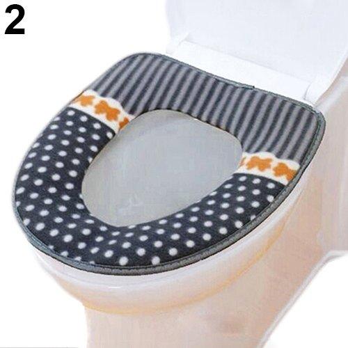 Risxffp casa bagno cuscino pois diy sedile wc stuoia morbido copertura calda coperchio proteggere pad grigio