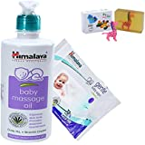 Himalaya Herbals Baby Massage Oil (500ml)+Himalaya Herbals Gentle Baby Wipes (72 Sheets) With Happy Baby Luxurious Kids Soap With Toy (100gm)