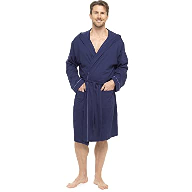 Mens Hooded Dressing Gown Bath Robe Wrap Soft 100% Cotton Jersey ...