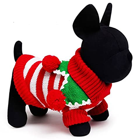 Moolecole Pet Costume Christmas Jersey Stripe Sweater Dog Cat Clothes Teddy Funny Apperal