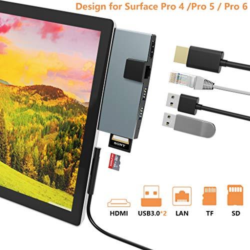 Cateck Surface Pro 4/5/6 Dockingstation HDMI USB Hub Mehrfunktion 6 in 1 USB Adapter mit Ethernet Anschluss, 4K HDMI, USB 3,0 Anschlüssen, SD/TF Kartenleser(Mikro SD), Aluminium leicht Wärmeableitung -