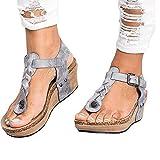 TIFIY Pantolette Damen,Sommer Mode Zehentrenner Riemen Wedges Sandalen Plateauschuhe Badeschuhe Flip Flops Schuhe(Grau,EU 37)
