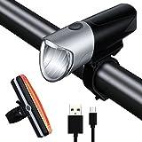 ONEU LED Fahrradlicht, Fahrradbeleuchtung Set Wiederaufladbare,500 Lumen Wasserdicht Fahrradlampe/Fahrrad Rücklicht/Fahrradhelme/Aufladbar 2000mAh Batterie