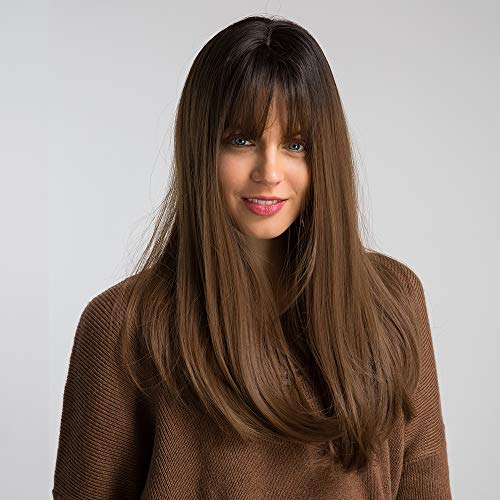 HAIRCUBE 20 Zoll Natur gerade Ombre Perücken für weiße Frauen schwarze Wurzel mit braunen Haaren synthetische Perücken mit stumpfen Bang -