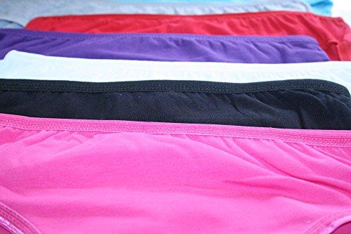 6er Pack Damen Slips Unterhosen Unterwäsche Bikinislips mit Unifarben oder Print 6x Unifarben MIX