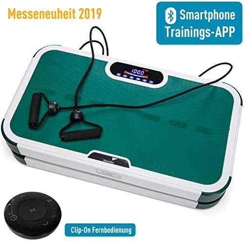 skandika Vibration Plate 900 Smart Vibrationsplatte- 2 Kraftvolle Motoren mit 3D Wipp Vibrations, Bluetooth, Trainings-App für Smartphone,Trainingsbänder +Fernbedienung + A1 Übungsposter