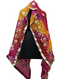 Jaipur Rajasthani Art Silk Bandhej Dupatta With Gota Patti Border And Gota Patti Work