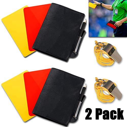 jeeri 2 Pack Schiedsrichter Set Fussball Sport Schiedsrichter Karten Set Rote Karte Gelbe Karte mit Tasche und Metall Schiedsrichter Pfeife Trainer Pfeife für Fußball