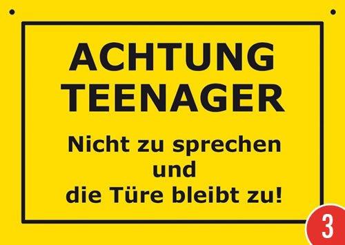 3er-Pack: Postkarte Kunststoff +++ VERBOTENE SCHILDER von modern times +++ ACHTUNG TEENAGER +++ ARTCONCEPT VERBOTENE SCHILDER