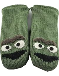 Sesame Street Nepalese Mittens 100% Wool Hand Made Adult Size -Grouch