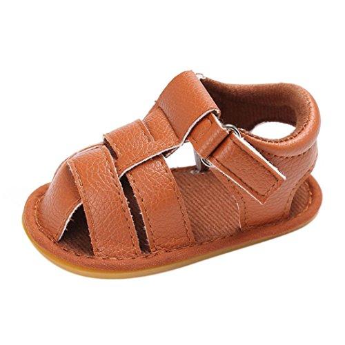 OverDose Baby Kleinkind Jungen Niedliche Krippe Schuhe Anti-Rutsch Prewalker Soft Sohle Schuhe Sandalen (0-18Monate) Braun