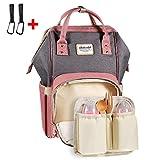 Baby Wickelrucksack mit 2 Pcs Kinderwagen Haken, multifunktionale wasserdichte Wickeltasche mit abziehbarer und warmer Tasche, Babytasche für Reise und Schule (pink/grau)