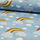 Jersey Stoff mit Regenbogen hellblau