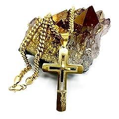 c670780889b106 Idea Regalo - Collana con ciondolo a forma di croce in oro 18 ct, per