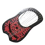Lyre Harpe 10cordes métal/Lyra Jante Harpe 10cordes avec différentes couleur Black/Red