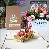 KVSW Belle Carte Biglietti Pop-Up 3D Cartoline Regalo di San Valentino con Buste Inviti di Nozze E Biglietti D'Auguri Auguri di Anniversario, Auto Matrimonio