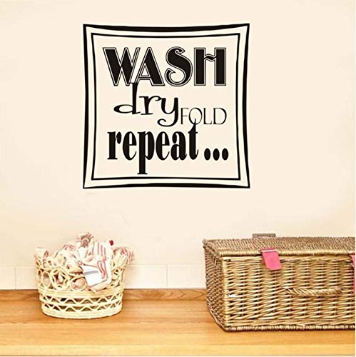 Hwhz 45X43 Cm Wash Dry Fold Repeat Square Art Words Wall Pictures Home Decor Hollow Out Removable Wall Sticker Vinyl Wallpaper For Laundry