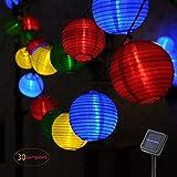 Luci Stringa Lanterna Solare,LED Lanterne di carta,30 catena luminosa LED, 6 M, energia solare, Decorazione Esterno/Interno per feste/cerimonia/matrimonio/Giardino/Casa (Multicolore)
