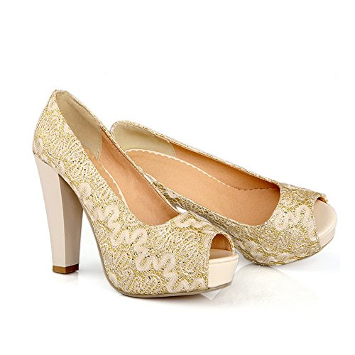 Balamasa da donna Pull-On, a punta aperta, tacco alto, pompe-Shoes Gold