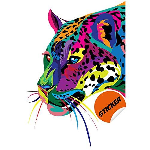 Jaguar Salvaje Etiqueta de la Pared - Gato Animal Arte Vinilo Negro Calcomanía de la Pantera - Leopardo Safari Depredador Puma Africano Cuerpo de la Cabeza Colorido Decoración de impresión