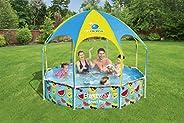 حمام سباحة ستيل برو للحماية من الاشعة فوق البنفسجية مع مظلة مدمجة من بيستواي، 244 سم × 51 سم، 26-56432
