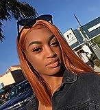"""Alice Perruque lace front 14"""" court Bob Perruque Orange, lisse et naturel en cuivre Couleur côté supplémentaire résistant à la chaleur Cheveux synthétiques pour femmes filles"""