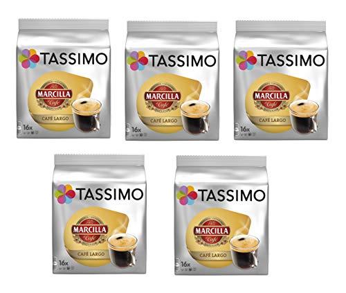 TASSIMO Marcilla Café Largo - 5 paquetes de 16 cápsulas: Total 80 unidades