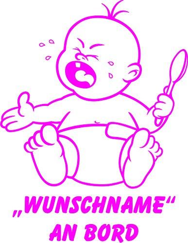 INDIGOS UG - Babyaufkleber / Kinderaufkleber 069 mit Wunschname / Wunschtext an Bord ca. 20 cm Höhe - Autoaufkleber in verschiedenen Farben